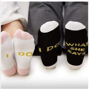 """Two's Company Other - Twos Company """"I Do What She Says"""" Set of 2 Socks"""